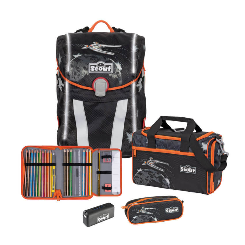 Scout Sunny Schulranzen Set 4tlg Safety Light Space Command + Gratis Lamy ABC Füller