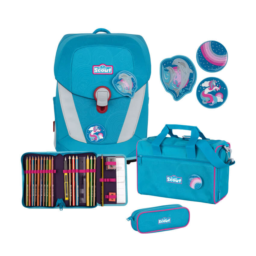 Scout Schulranzen Set Sunny II 4tlg. Dolphins Funny Snaps + Gratis Edelstahl Trinkflasche