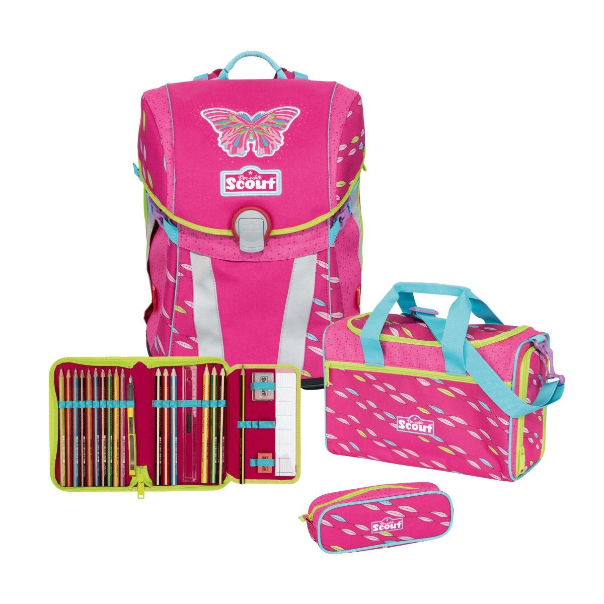 Scout Sunny Schulranzen Set 4tlg. Pink Butterfly