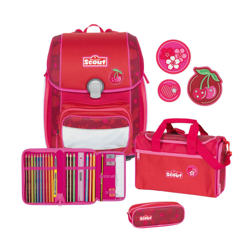 Scout Genius Schulranzen Set 4tlg Cherry Red +